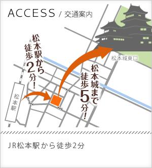 交通案内 JR松本駅から徒歩10分